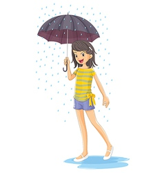 A girl holding an umbrella vector