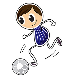 A sketch of a boy playing soccer vector image vector image