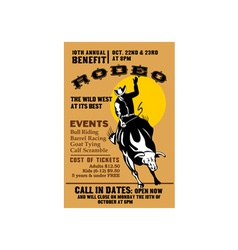 American rodeo cowboy riding bull vector