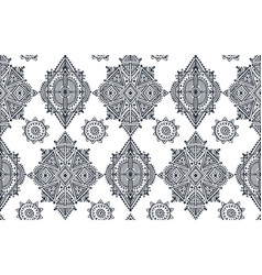 Black and white ethnic seamless pattern with hand vector
