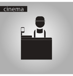 Black and white style icon seller of movie tickets vector