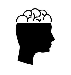 Black contour mental health person with brain vector