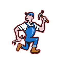 Carpenter Builder Hammer Running Cartoon vector image vector image