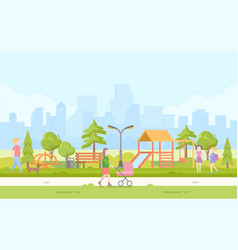 City children playground - modern cartoon vector