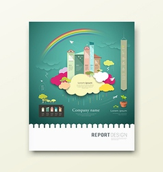 Cover report colorful paper house clouds ecology vector
