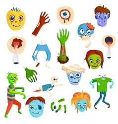 Cute green cartoon zombie character set part of vector image