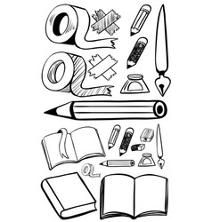 doodles set for different stationeries vector image