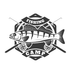 Fishing camp emblem template on white background vector