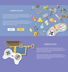 flat design gaming concepts web vector image vector image