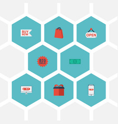 Flat icons pouch buy now big sale and other vector