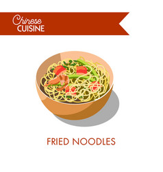 fried noodles with delicous prawns and salmon vector image