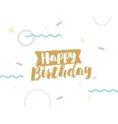 Happy birthday text on geometric background vector