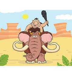 Happy caveman on mammoth cartoon vector