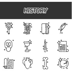 history and culture icons vector image vector image
