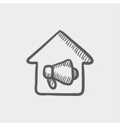House fire alarm sketch icon vector