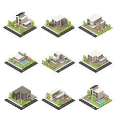 Isometric cottages and mansions set vector