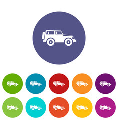 Jeep set icons vector