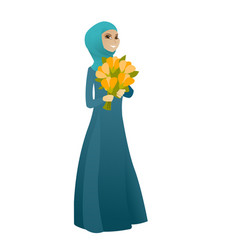 Muslim business woman holding bouquet of flowers vector