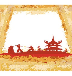 old paper with Samurai silhouette vector image vector image