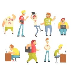 Professional programmers funny characters set vector