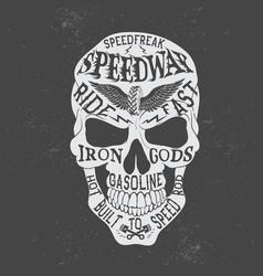 retro skull logo vector image