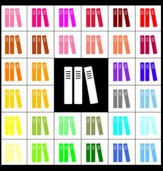 Row of binders office folders icon felt vector