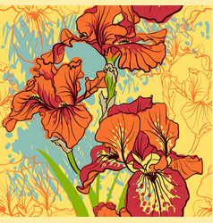 seamless pattern with decorative iris flower i vector image