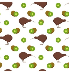 Seamless pattern with kiwi birds and kiwi fruits vector image vector image