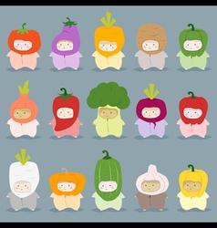 Set of kids in cute vegetable costumes vector image