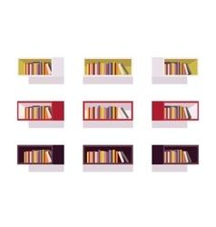 Set of retro rectangle bookshelves vector
