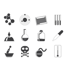 Silhouette chemistry industry icons vector
