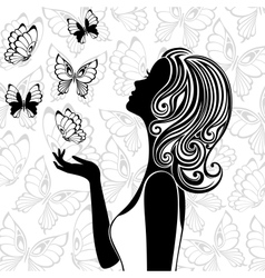 Silhouette of young woman with flying butterflies vector