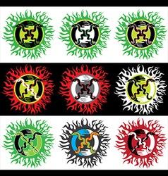 Snake symbol fire flames texture design stamp vector