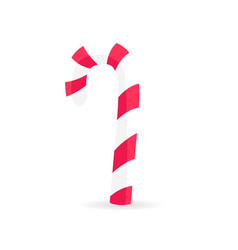 striped candy stick in red white colors isolated vector image vector image