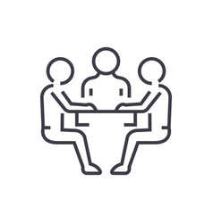 team strategydiscussion line icon sign vector image