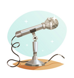 Vintage metal microphone isolated vector