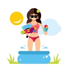 Woman in the pool salvation from the heat vector