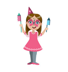 Girl in butterfly make up with fireworks part of vector