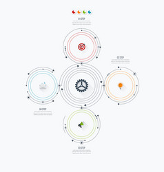 Infographics template four options with circle vector
