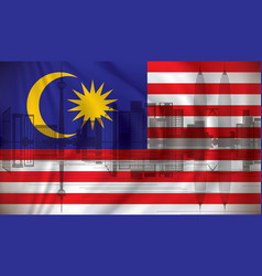 flag of malaysia with kuala lumpur skyline vector image