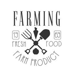farming fresh food farm product logo black and vector image