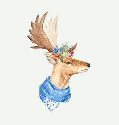 Watercolor deer portrait vector