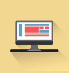 monitor on the table in flatstyle vector image