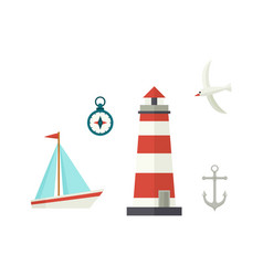 Flat ship lighthouse compass anchor and seagull vector
