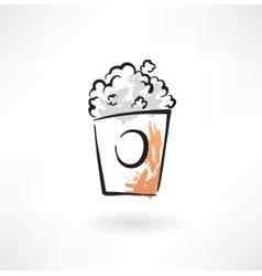 Popcorn grunge icon vector