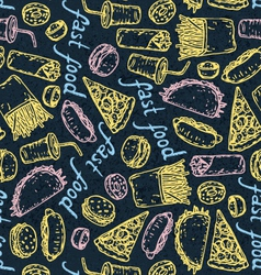 Fast food color chalk pattern vector