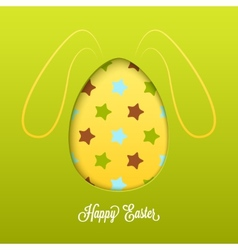 Happy easter card with cut egg and line rabbit vector