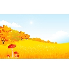 Autumn rural landscape with vector