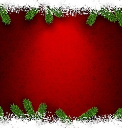 Fir and snow christmas frame vector
