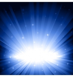 blue light burst with stars vector image